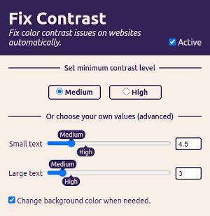 The Fix Contrast settings